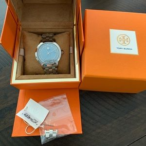 Tory Burch Silver With Blue Watch TRB1008